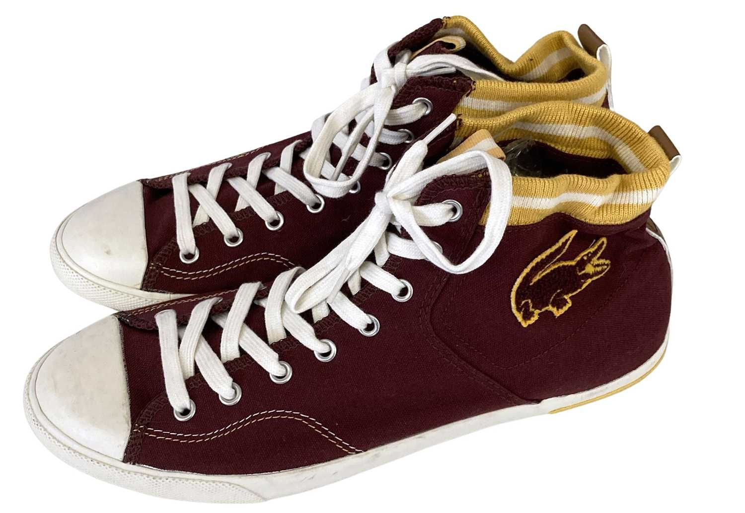 ED SHEERAN'S OWNED AND WORN LACOSTE TRAINERS.