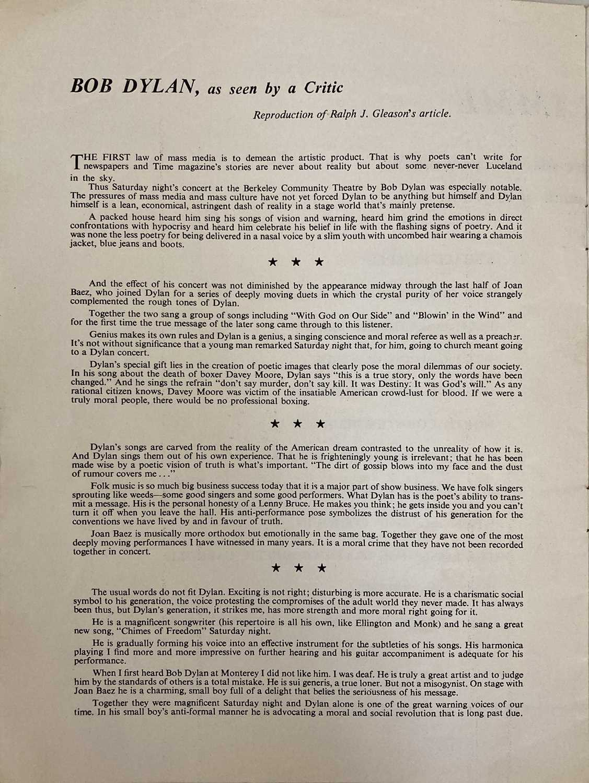 CONCERT PROGRAMMES TO INC BOB DYLAN 1964 FESTIVAL HALL. - Image 6 of 8