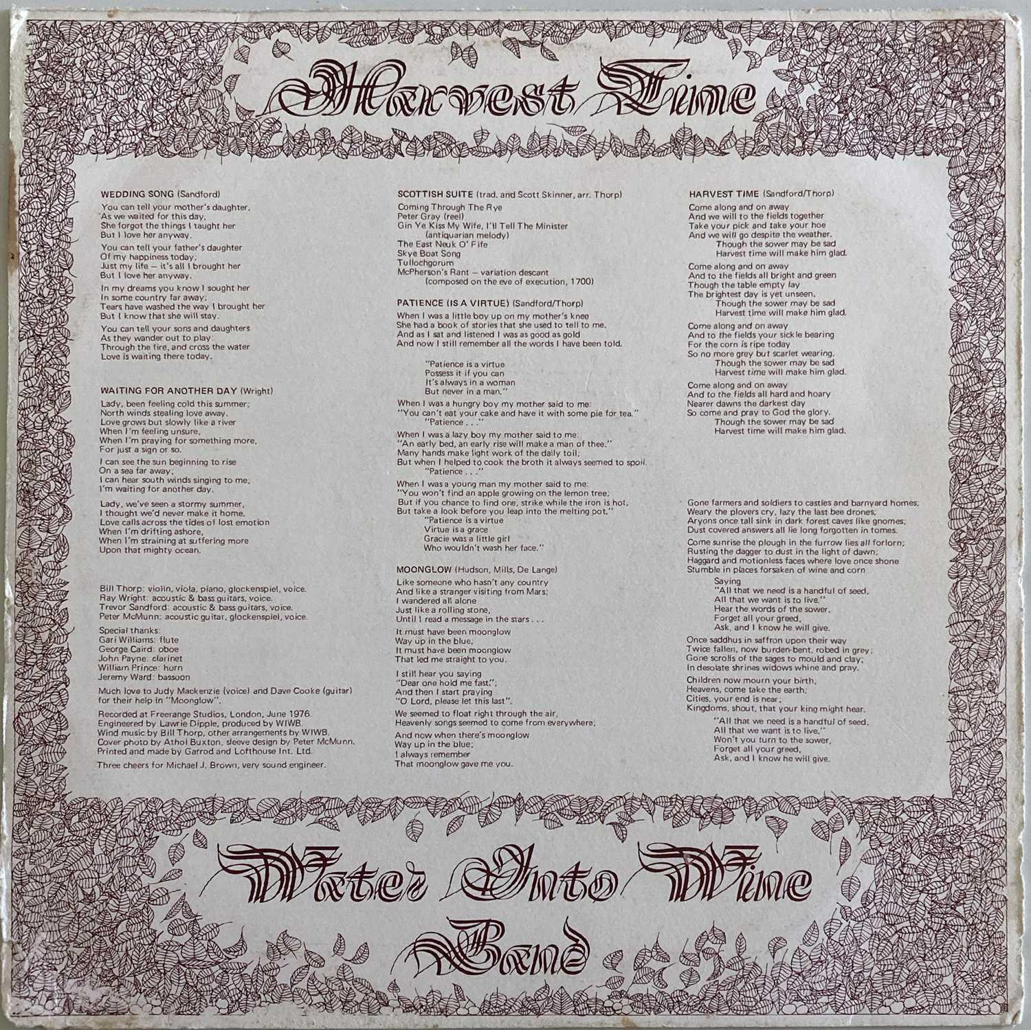 WATER INTO WINE BAND - HARVEST TIME LP (ORIGINAL SELF RELEASED PRESSING - CJT 002) - Image 2 of 4