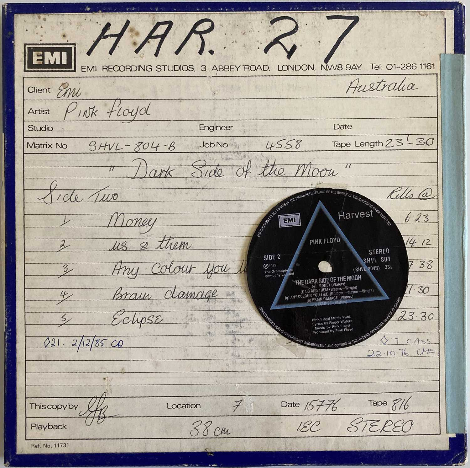 """PINK FLOYD DARK SIDE OF THE MOON 1/4"""" PRODUCTION MASTER TAPE."""