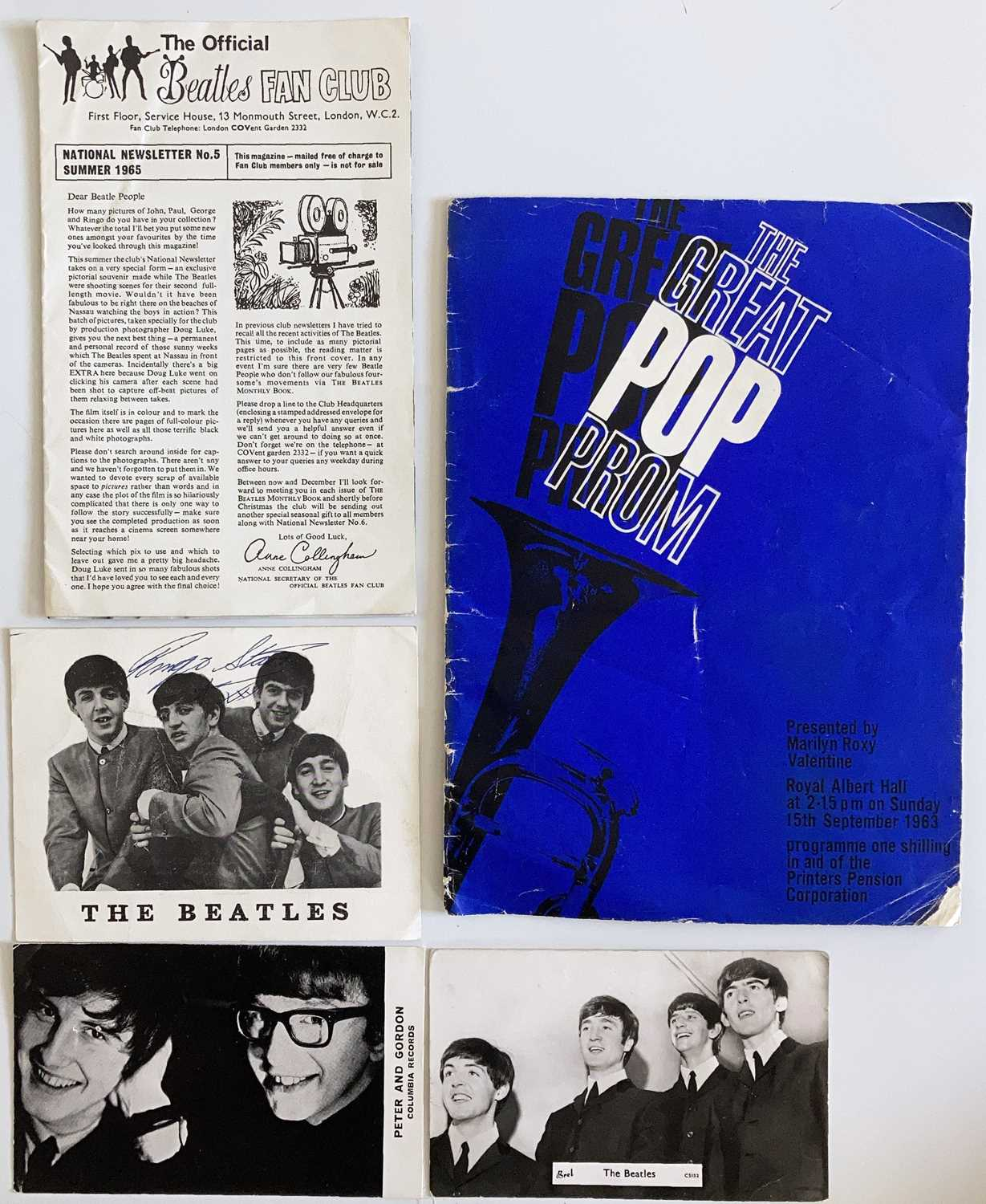THE GREAT POP PROM PROGRAMME - SIGNED RINGO STARR CARD.