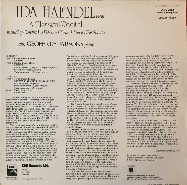 IDA HANDEL/ GEOFFREY PARSONS - A CLASSICAL RECITAL LP (UK QUADRAPHONIC - ASD 3352) - Image 2 of 4