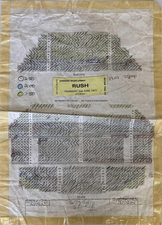 RUSH- 1977 FREE TRADE HALL SEATING PLAN. - Image 2 of 2