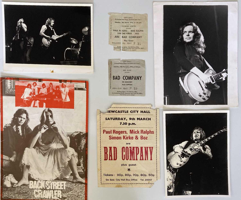 BAD COMPANY, PAUL KOSSOFF & BACK STREET CRAWLER FLYER / PROGRAMMES / PHOTOS & TICKET STUBS.