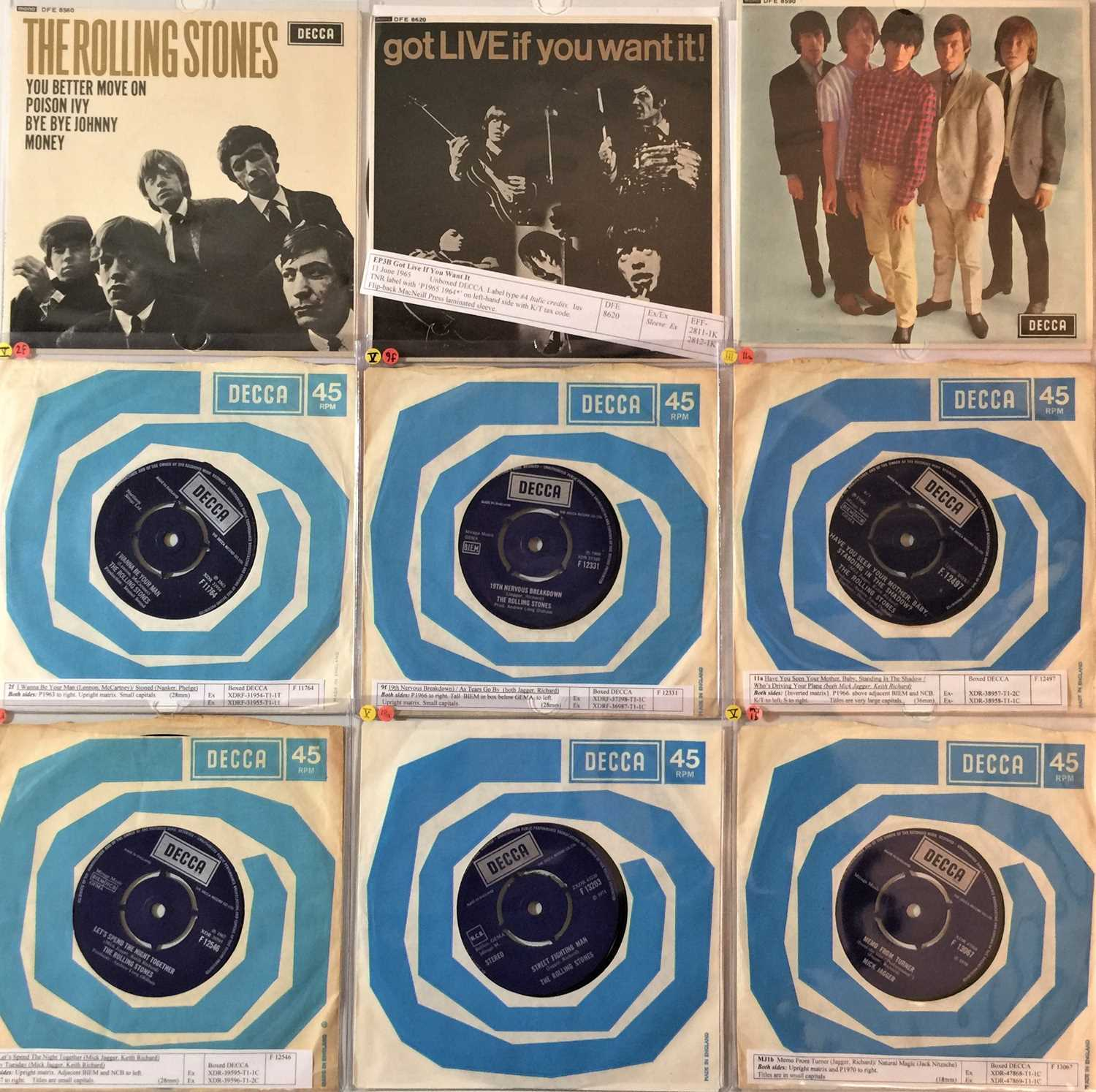 """THE ROLLING STONES & RELATED - 7""""/EPs (60s/70s)"""