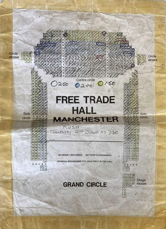RUSH- 1977 FREE TRADE HALL SEATING PLAN.