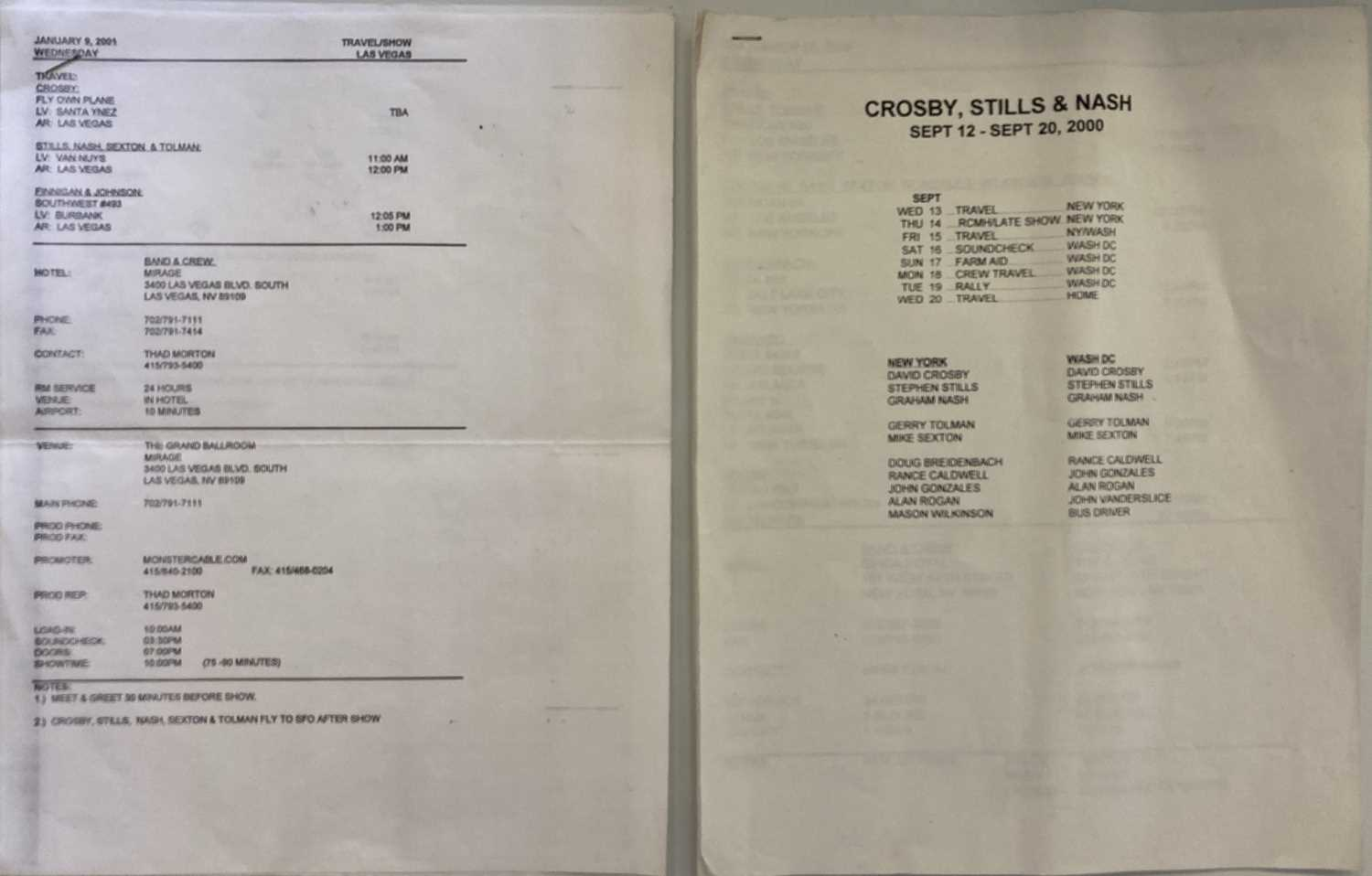 CROSBY, STILLS, NASH AND YOUNG TOUR ITINERARIES. - Image 2 of 2