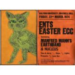 MANFRED MANN / NUCLEUS 1970S CONCERT POSTER / ORIGINAL BLACKLIGHT POSTER.