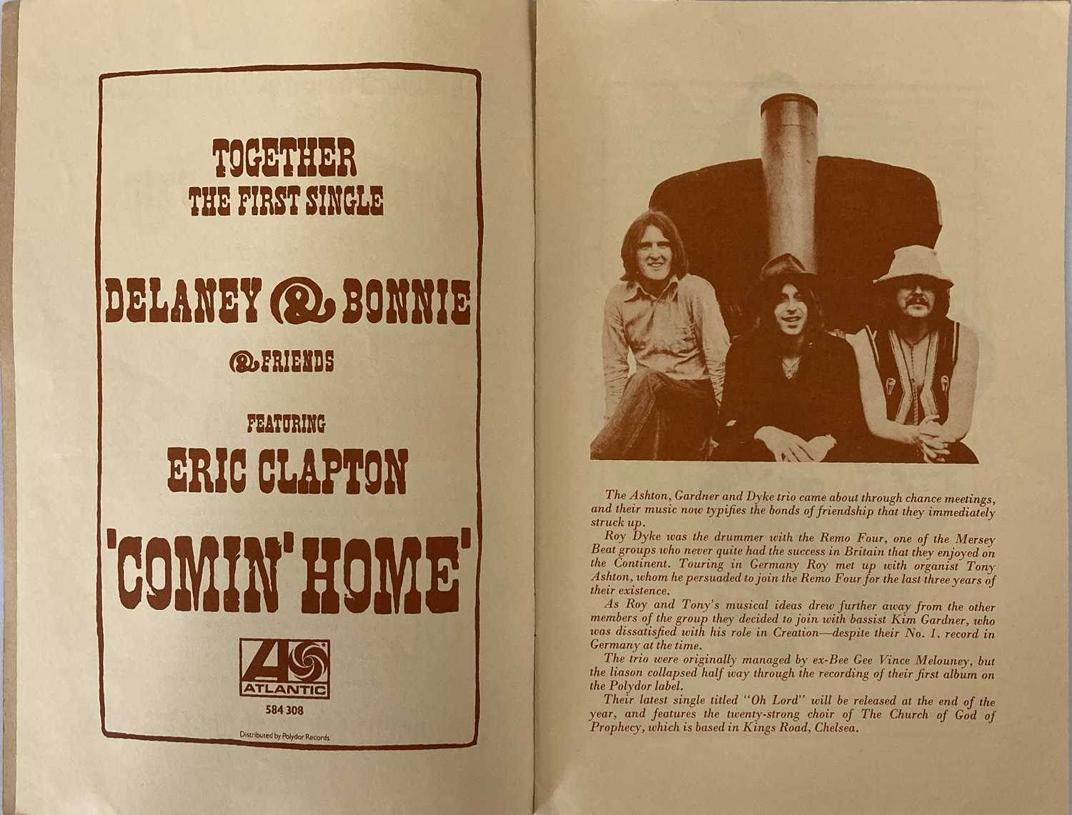 ERIC CLAPTON DELANEY AND BONNIE 1969. - Image 3 of 3
