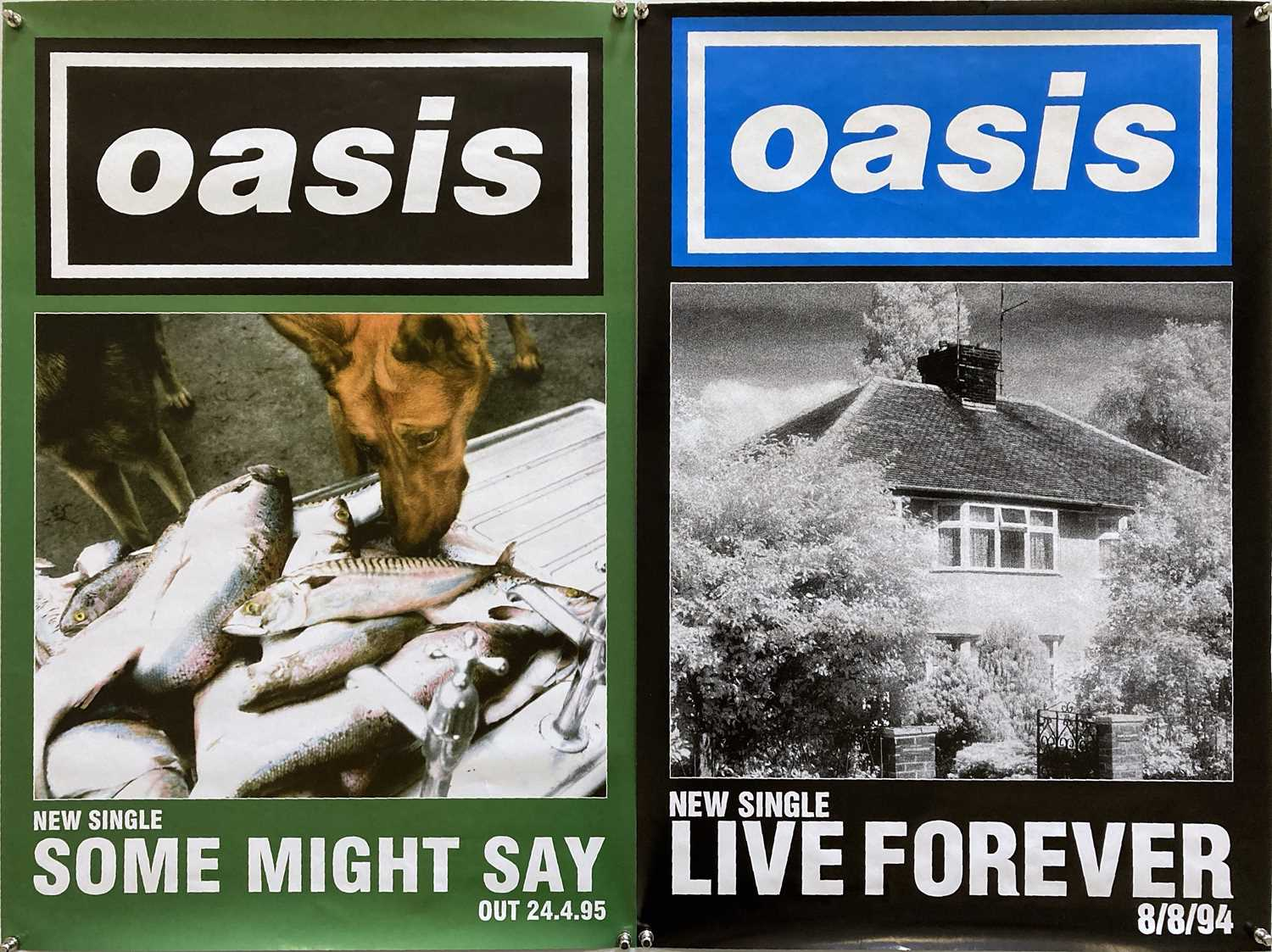 OASIS POSTERS - LIVE FOREVER / SOME MIGHT SAY.