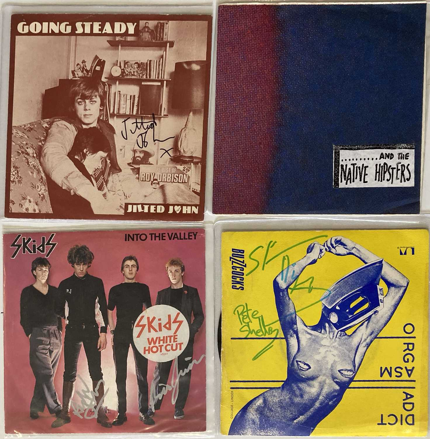 SIGNED AND RARE PUNK SINGLES - JILTED JOHN / BUZZCOCKS