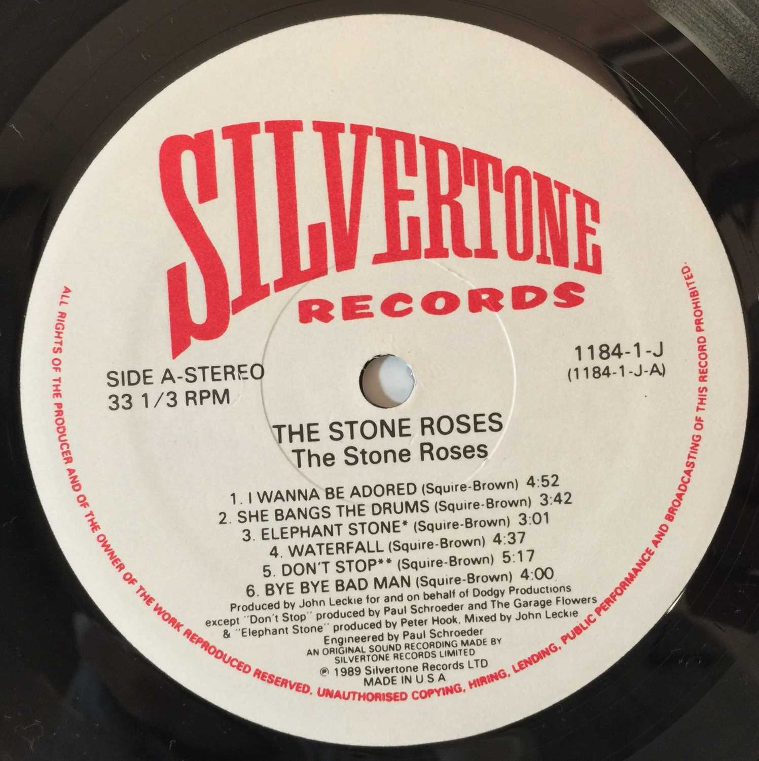 THE STONE ROSES - THE STONE ROSES LP (COMPLETE OG US COPY WITH PRESS RELEASE - SILVERTONE 1184-1-J) - Image 4 of 6