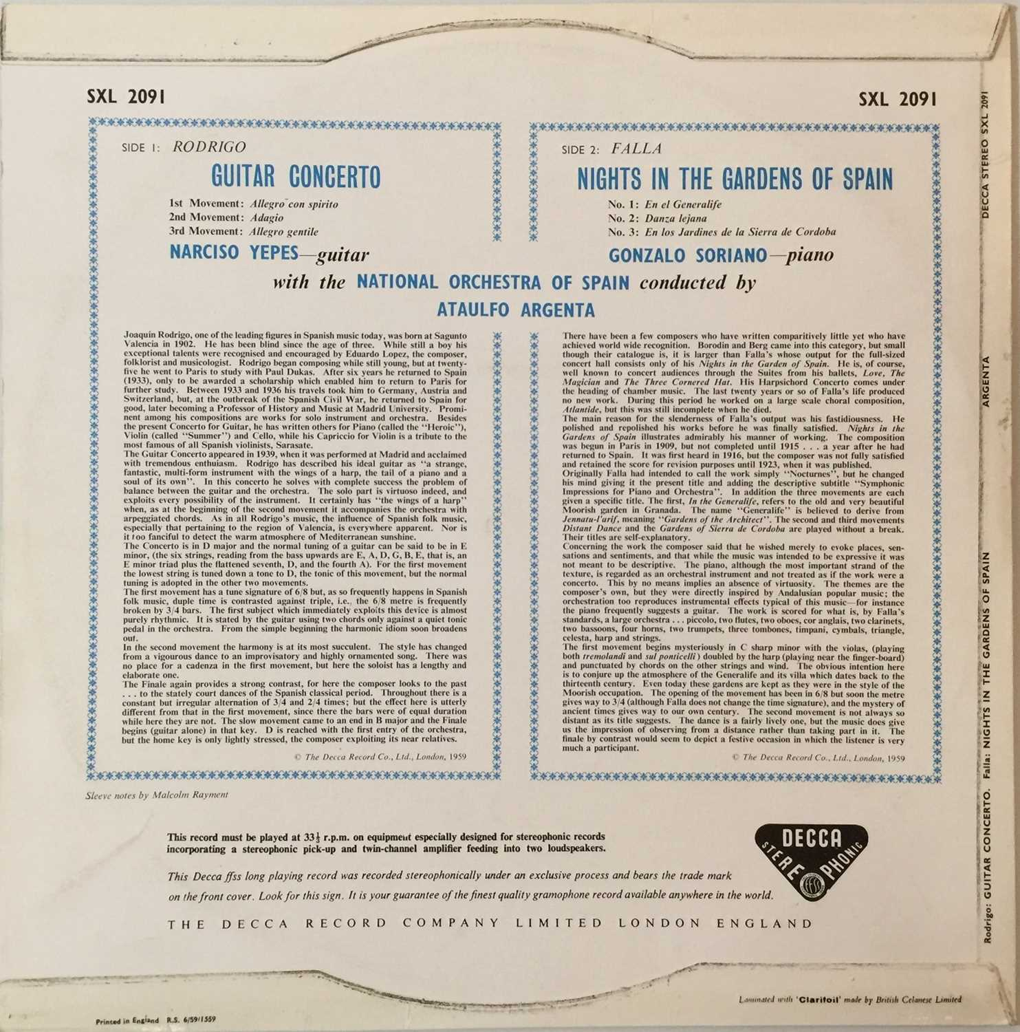 ARGENTA - FALLA: NIGHTS IN THE GARDENS OF SPAIN UK STEREO LP (SXL 2091 - ED1) - Image 2 of 4