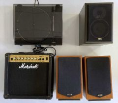 Marshall Guitar Amplifier, Speakers and Turntable.