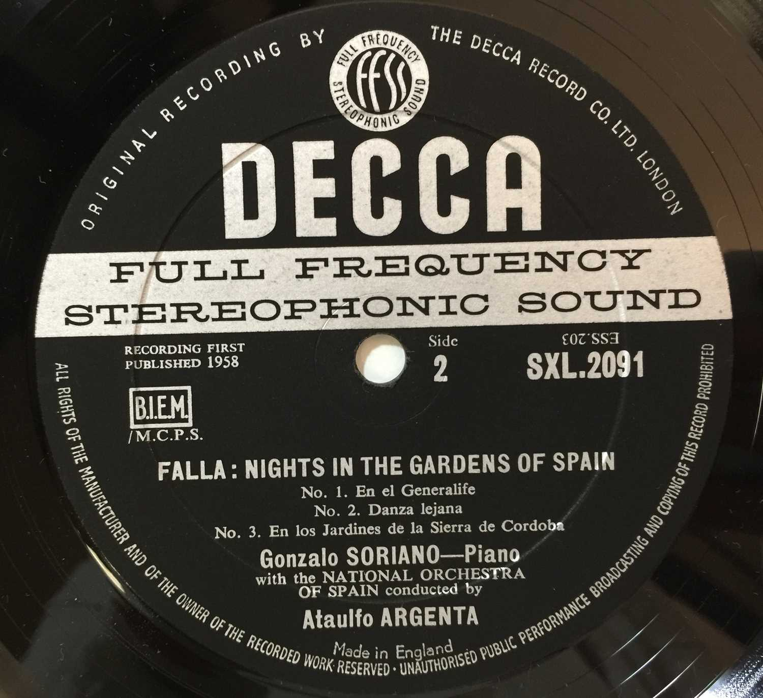 ARGENTA - FALLA: NIGHTS IN THE GARDENS OF SPAIN UK STEREO LP (SXL 2091 - ED1) - Image 4 of 4