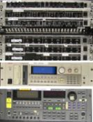 NEW ORDER RACK FILLED WITH AUDIO EQUIPMENT IN LARGE FLIGHT CASE