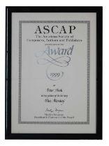 NEW ORDER ASCAP FRAMED CERTIFICATE/AWARD
