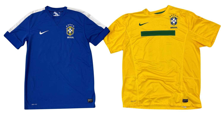 HOOKY'S TOUR WORN FOOTBALL SHIRTS - BRAZIL x2
