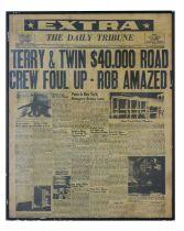 TERRY AND TWINNY NEWSPAPER HEADLINE, FRAMED