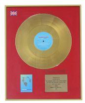 NEW ORDER WORLD IN MOTION UK GOLD DISC AWARD