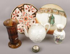A collection of ceramics and glass to include Mason's cabinet plate, oriental vase, coloured glass