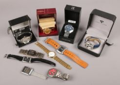 A collection of gents quartz wristwatches, some boxed, to include Accurist chronograph, Orlando,