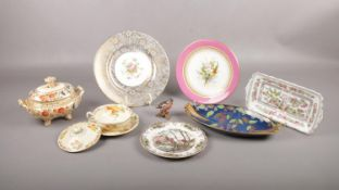 A collection of ceramics comprising of, a 19th century Royal Worcester plate with hand painted