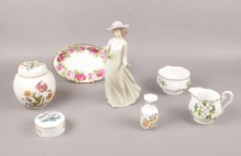 A group of ceramic's, NAO, Royal Albert, Mason's examples, figurine, pin dishes, ginger jar etc