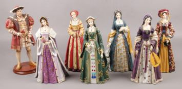 A set of seven composite Regency Fine Art figures, Henry VIII and his six wives. Catherine Parr