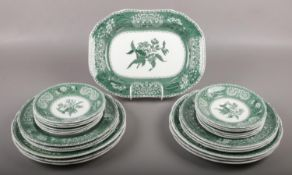 A collection of Spode dinnerwares, in the Green Camilla design, approximately 25 pieces.