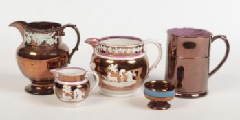 A collection of 19th century copper lustre pottery. Two Sunderland pink lustre jugs sprigged with