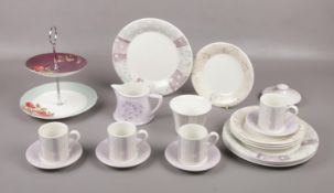 A Portmeirion 'Dawn' part coffee set, cups/saucers, tea plates, milk jug, sugar bowl to include cake