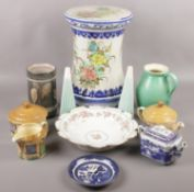 A collection of ceramics to include large pottery stand, Sylvac cottage ware, Hornsea salt