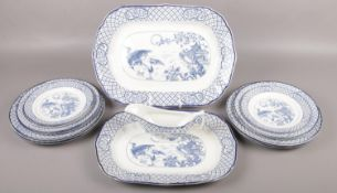 A collection of blue and white Orient pattern dinnerwares (approximately 16 pieces).