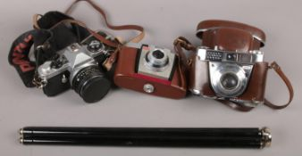 Three SLR cameras to include Pentax Me Super camera, Kodak coloursnap 35 camera, Kodak Retinette