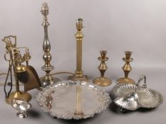 A collection of metalwares, to include silver plate serving tray, tale lamps, candlesticks, small