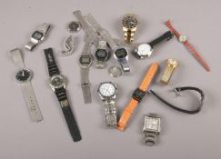 A collection of quartz wristwatches, Accurist, Pulsar, Timex examples