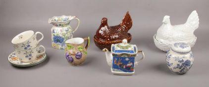 A group of ceramic's, Portmeirion, Sadler, Border Fine Arts, examples, jugs, teapot, ginger jar