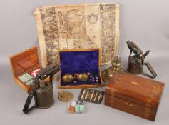 A group lot of collectables to include Map, blow torches, gem stones, wooden boxes, boxed scales,