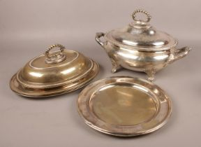 A collection of silver plate. Includes tureens, serving dishes etc.