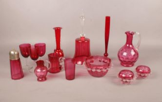 A selection of coloured glassware, mainly cranberry to include Victorian examples. Slight chips