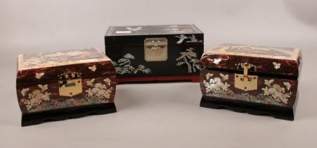 Three modern ornate Abalone shell jewellery boxes.