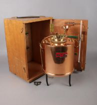 A Stanhope-Seta flash tester in copper together with original wooden box and thermometer Serial no
