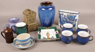 A Royal Copenhagen rectangular vase along with a collection of stoneware. Including cups, vase,