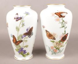 Two Franklin Porcelain limited edition vases by John Wilkinson. The Country Garden Butterfly Vase