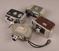 Four vintage cine cameras. Includes Bolex Paillard B8L, Specto 88, Revere and Yashica-M.