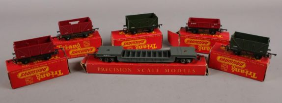 A collection of boxed Tri-ang railway 00 gauge model railway, to include goods trucks, wagon, and