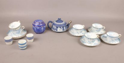 A selection of blue and white china, comprising of six Chapman cups and saucers, a Wedgwood Jasper