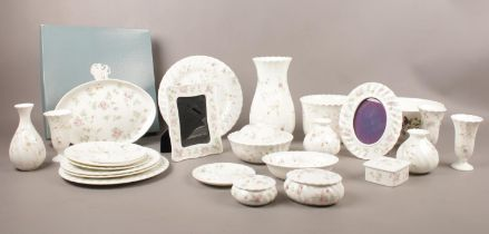 A collection of Wedgwood. 'Rosehip', 'Campion', 'Hathaway Rose', vases, bowls, trinkets, photo