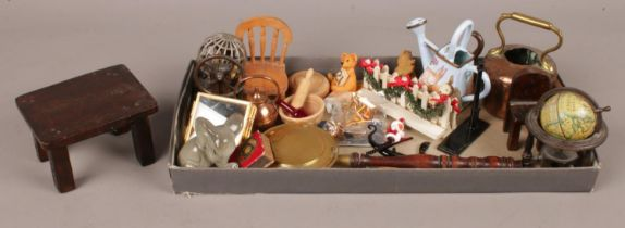 A tray of doll's house miniatures. Including globe, bears, table, etc.